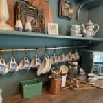 Copper Pot Hanger with Tea Set