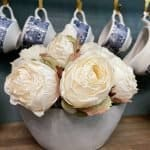 White Roses in a DIY concrete bowl