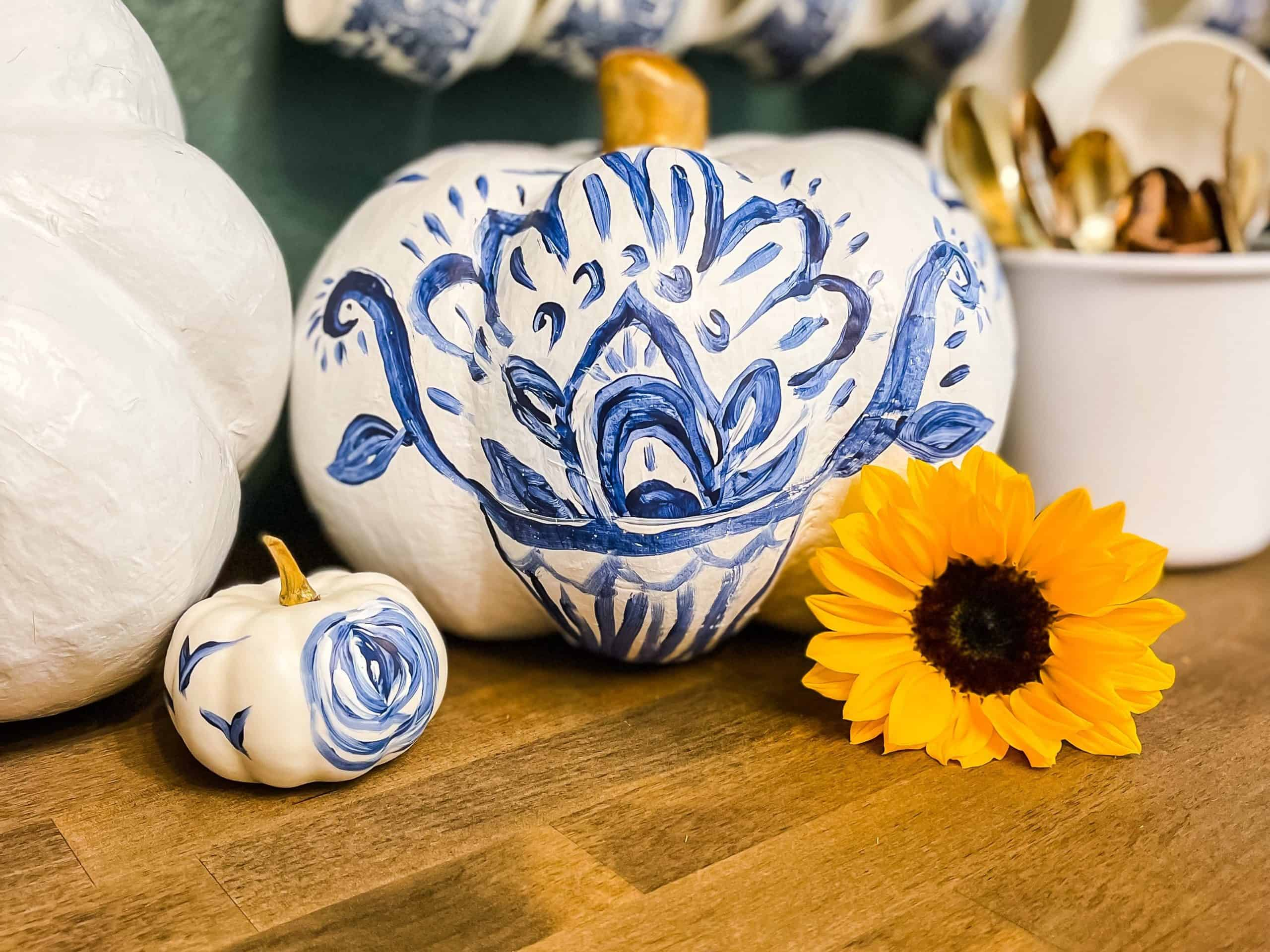 Blue and white painted pumpkins to match my blue willow china.