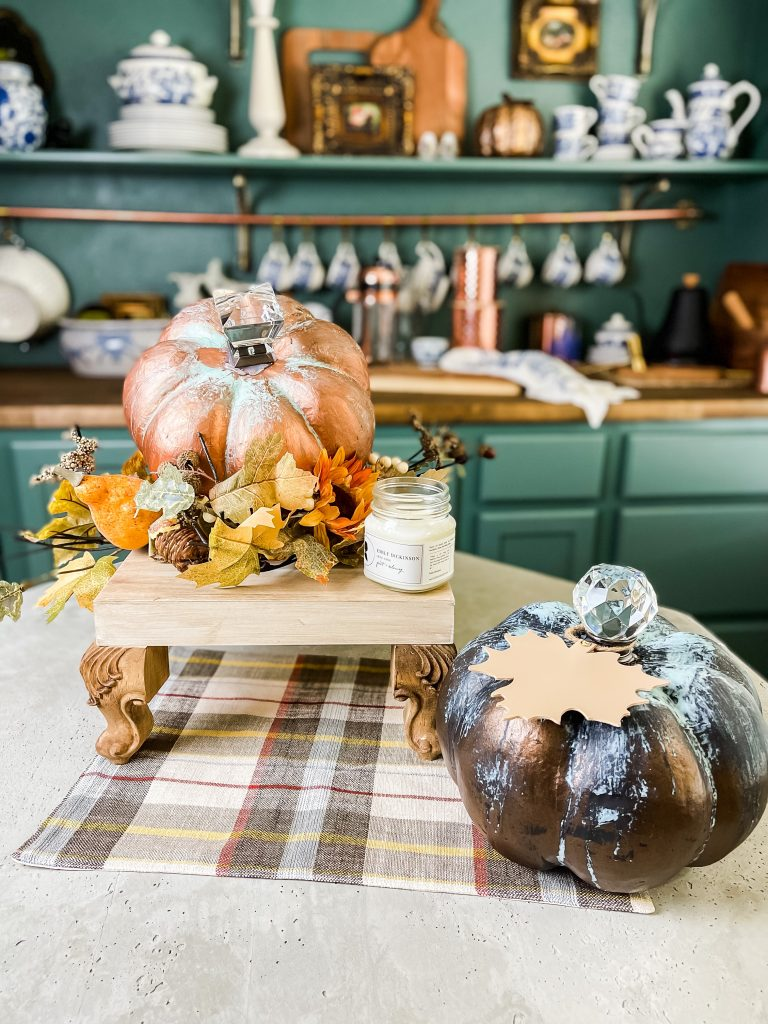 Copper and Bronze patina painted pumpkins
