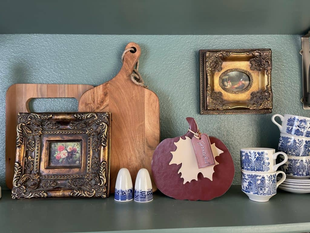 DIY leather and wood pumpkin in my French inspired kitchen.